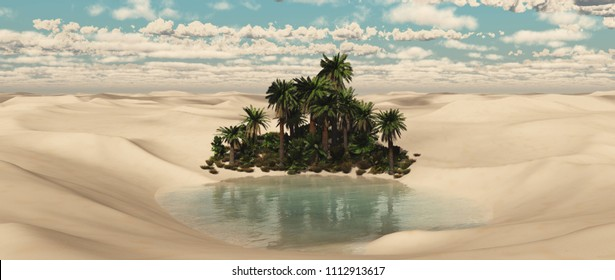 oasis in the desert, palm trees in the sands, a pond in the sand, 3D rendering
