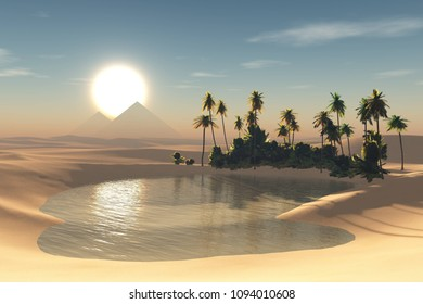 oasis in the desert, a pond with palm trees in the sands at sunset, 3D rendering