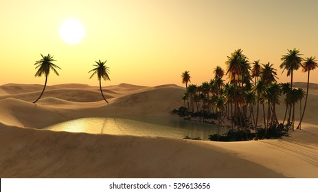 Oasis in the desert sand. Lake in the sands. Palm trees over the water. 3d rendering.