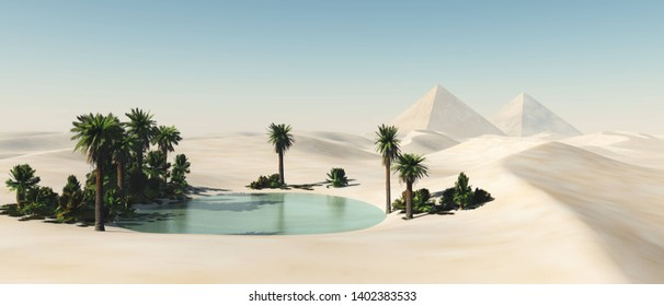 Oasis in the desert of sand, palm trees and a pond in the sands, 3d rendering