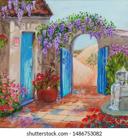 An oasis.Oil painting of a blooming house with a fountain and flawers with an arch and beautiful blue doors in the middle of a hot desert/