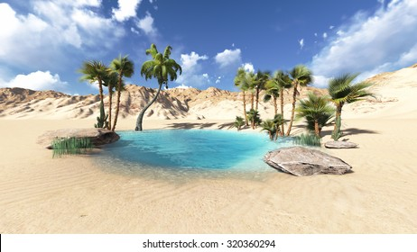 oasis and palm tree render illustrations