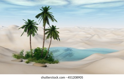Oasis. Palm trees in the desert. Lake in the sand. 3D rendering.
