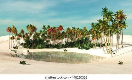 oasis, Palm trees near the water, 3D rendering