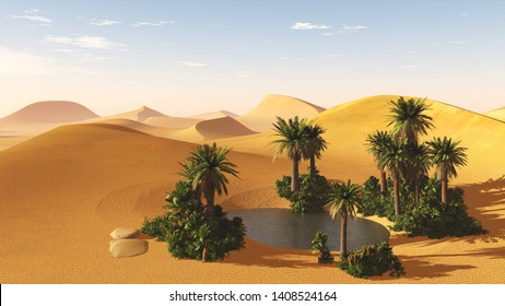 Oasis with palm trees and water in the sand desert, 3d rendering