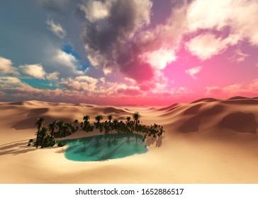 Oasis, sand desert at sunset, beautiful sunset in the sand, oasis at sunset, sunrise in the desert over the oasis, 3D rendering