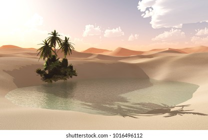 Oasis in the sandy desert during sunset 3D rendering