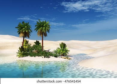 Oasis. Sandy Desert. Palm trees over the water. 3D rendering