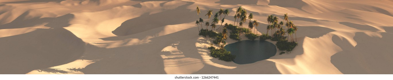 Oasis in the sandy desert at sunset, palm trees above the water in the sand desert, 3d rendering