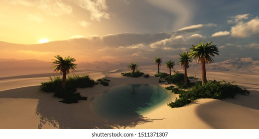 Oasis at sunset in a sandy desert, a panorama of the desert with palm trees, 3d rendering