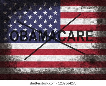 Obamacare Repeal Or Replace American Healthcare Reform. Usa Legislation For Affordable Health Care - 2d Illustration