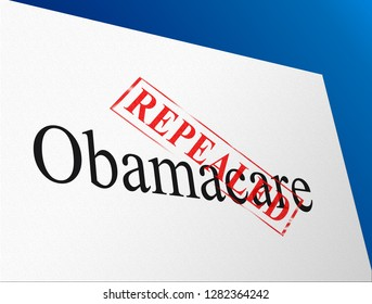 Obamacare Repeal Or Replace Us Healthcare Reform. Usa Legislation For Affordable Health Care - 3d Illustration