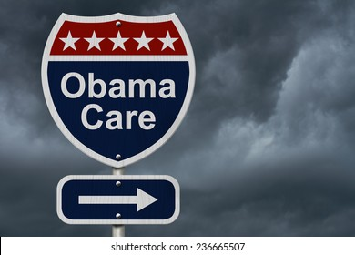 ObamaCare Sign, A red, white and blue highway sign with words ObamaCare and an arrow sign with stormy sky background