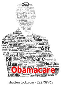 Obamacare word cloud shape concept
