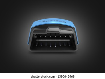 OBD2 wireless car scanner isolated on black gradient background 3d illustration