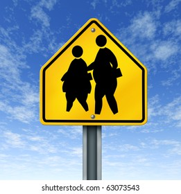 obese school children obesity overweight kids diet crossing sign