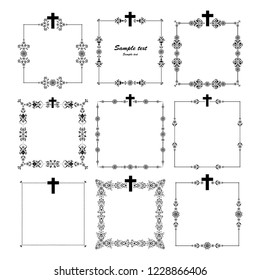 Obituary notice - art deco frames with cross. Collection of Christian Symbol design elements isolated on White background.  illustration