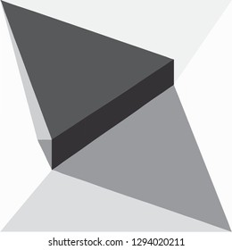 Object on a geometric illustration in the form of a cardboard box unfolding in space of triangles and a quadrilateral. In the style of 3D graphics. Black, white, gray colors. The image of the arrows.