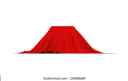 Object of rectangular shape covered with thick red cloth. Side view. Isolated on white background