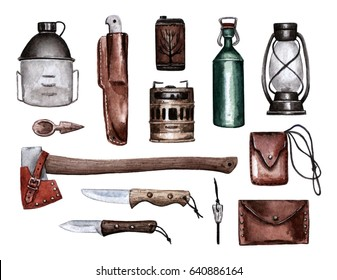 Objects for camping and adventure isolated on white. Watercolor hand painted illustration