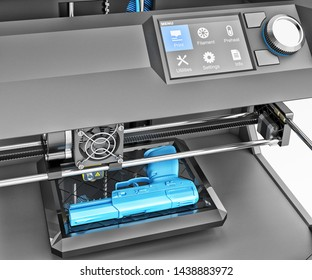 Objects creation and printing technology concept, plastic firearms weapon printed on 3d printer, 3d illustration