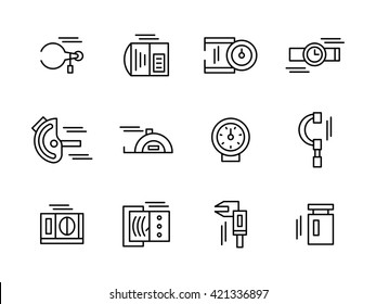 Objects and tools for measurement a variety of physical and mechanical quantities. Metrology and engineering. Collection simple line style icons
