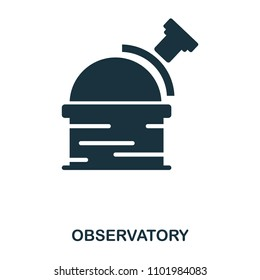 Observatory icon. Flat style icon design. UI. Illustration of observatory icon. Pictogram isolated on white. Ready to use in web design, apps, software, print.