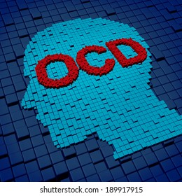 Obsessive compulsive disorder or OCD medical concept as a human head and letters made of organized cubes as a symbol of anxiety symptoms and compulsive psychological behavior issues.