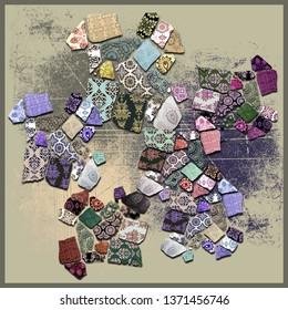 obsolete background fragmented ceramics