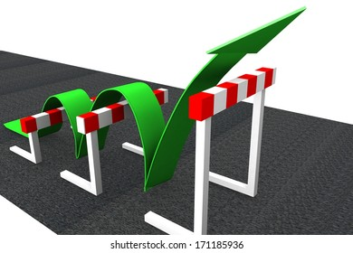 obstacle road - green arrow - Dow jones - economic growth - stocks going up