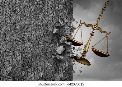 Obstruction of justice and illegal interference into legal business or government procedures as a law scale hitting a cement wall with 3D illustration elements.
