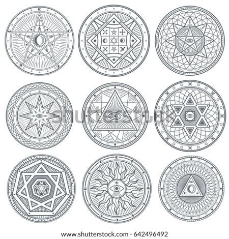 Occult Mystic Spiritual Esoteric Symbols Spiritual Stock