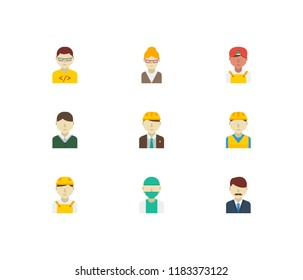 Occupation icons set. Indian worker and occupation icons with office boss, doctor and engineer. Set of director for web app logo UI design.
