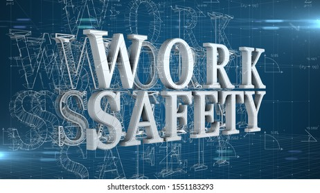 Occupational health and safety safe work place WHS HSE OSH title - 3D title Illustration Render
