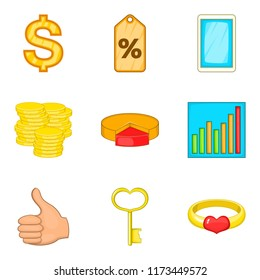 Occupy money icons set. Cartoon set of 9 occupy money icons for web isolated on white background