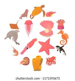 Ocean animals fauna icons set. Cartoon illustration of 16 ocean animals fauna icons for web