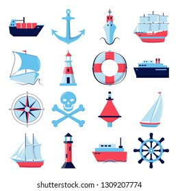 Ocean collection of ship icons in flat style. Marine symbols set including anchor, lighthouse and steering wheel. Sea travel concept elements.