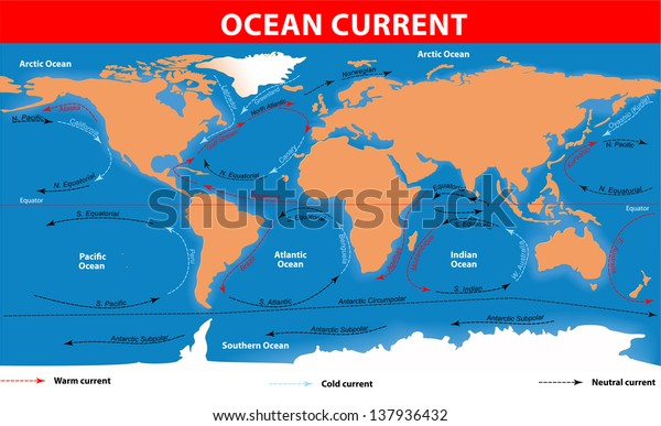 Ocean Currents Map Stockillustration 137936432