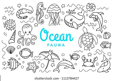 Ocean fauna cute cartoon doodle set. Aquatic sea fauna. Under water inhabitants life. Octopus, whale, turtle, dolphin, seahorse, crab, shark, etc aquatic underwater animals