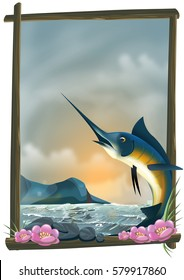Ocean landscape with a Blue Marlin fish framed by drift wood and flowers.