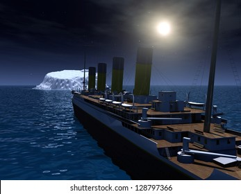 Ocean Liner with Iceberg Computer generated 3D illustration