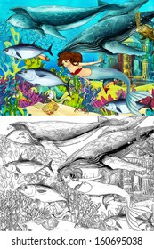 The ocean and the mermaids - coloring page - illustration for the children
