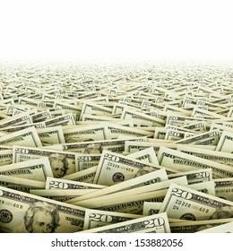 Ocean of money. Big amount of dollar banknotes.