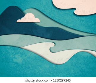 Ocean and mountains with clouds. Vibrant multicolored paper cut background. Abstract modern 3d origami paper art style