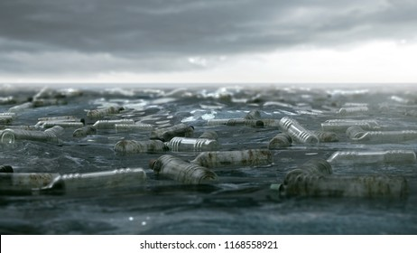 Ocean polluted with plastic bottles (3D Rendering)