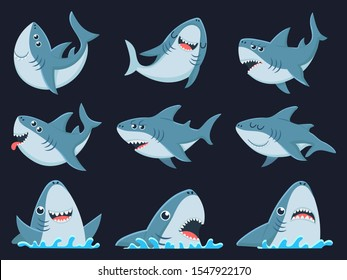 Ocean shark mascot. Scary sharks animals, smiling jaws and swimming shark. Underwater marine monster, big sea shark creatures character. Cartoon  illustration isolated icons set