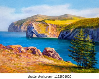 Ocean shore, illustration, Oil painting paints on a canvas.