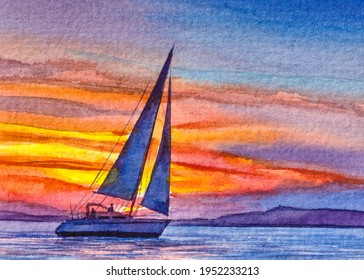 Ocean Sunset with Sailboat. Sailing or Yacht Sport. Spring break or Summer vacations. Beautiful seascape. Watercolor painting. Acrylic drawing art. Hand painted A piece of art.