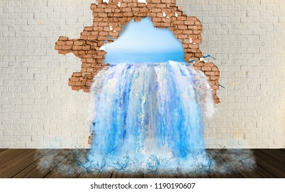 Ocean water flows into the room from a hole in the wall. Wallpapers for interior decor. 3D rendering.