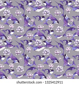 Ocean watercolor seamless pattern with silhouettes of sea animals: whales, dolphins, killer whales, stingrays and narwhals with purple flower and fantastic space backgrounds